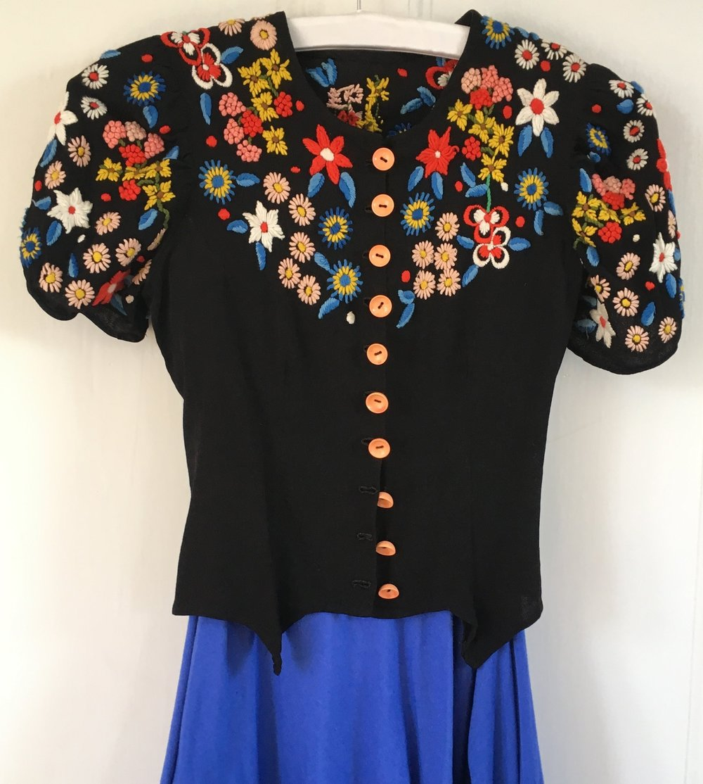 Vintage, hand embroidered top, over my Phannatiq dress- the blues match perfectly!
