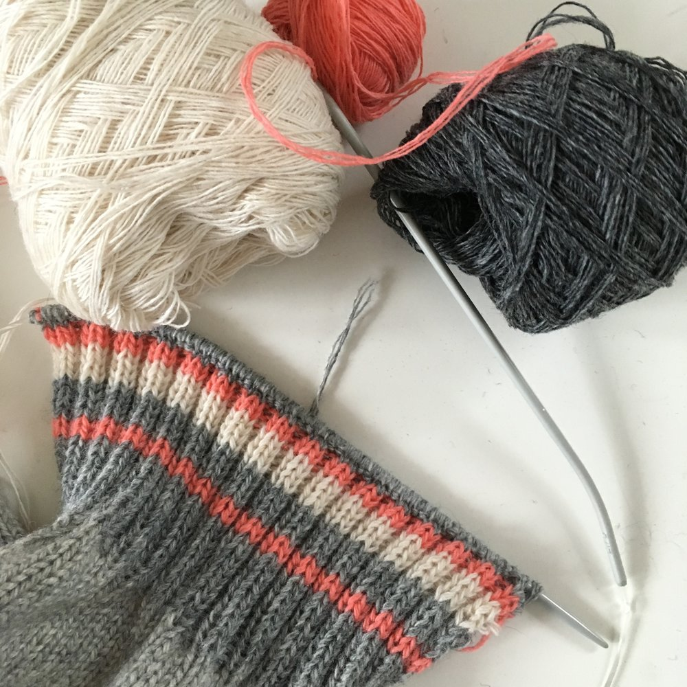 I decided to re-knit the cuffs in colours to match the mends on the elbows.