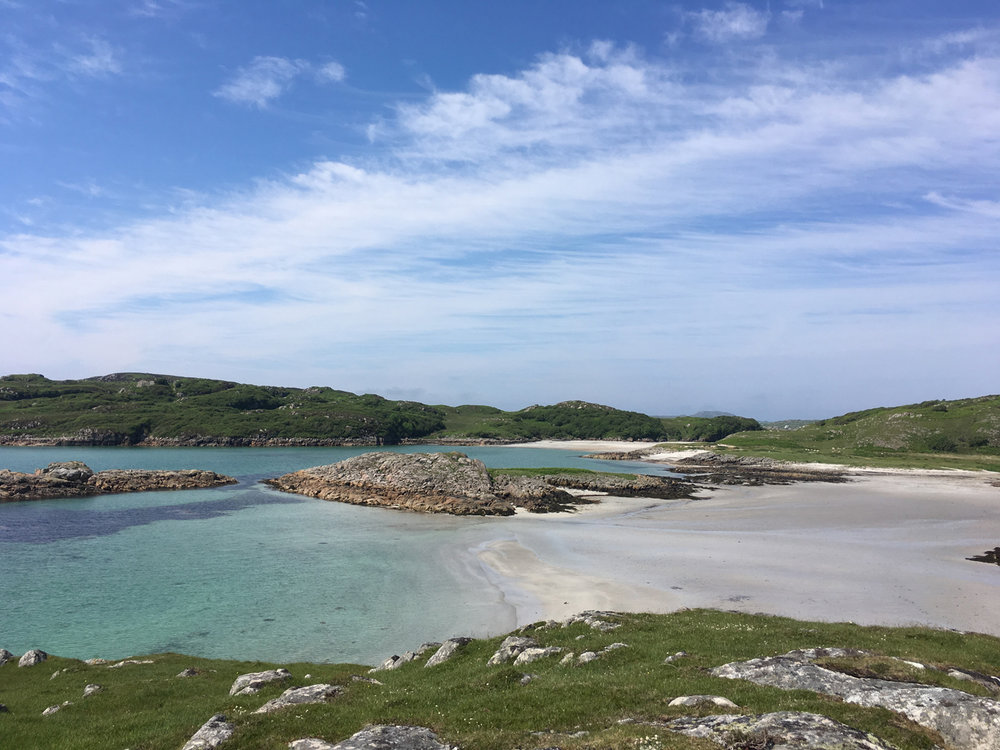 The beautiful turquoise waters with white sands that I love, on the Isle of Mull, looking towards Erraid.