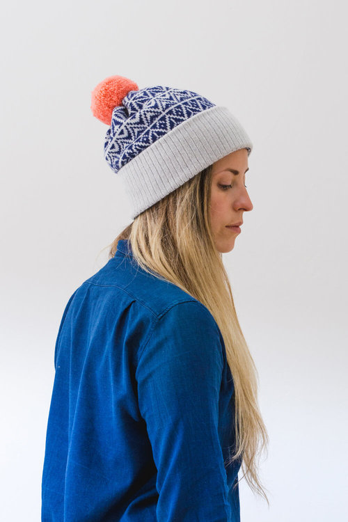82ec7dd23e3 Teviot Pom Hat. A thick lambswool bobble hat made in Scotland. Luxury  Scottish Knitwear
