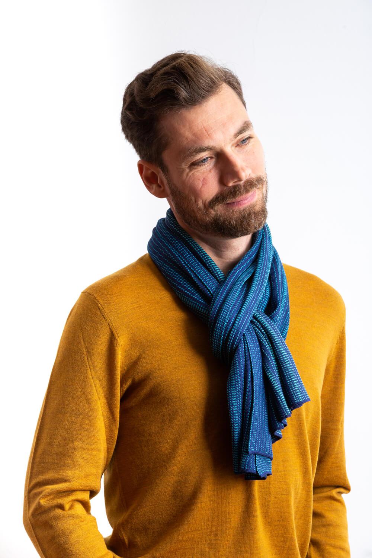 Designer silk scarf for men in large size. A dark blue patterned silk scarf, made in Scotland. Luxury Scottish Knitwear design by Collingwood-Norris.jpg
