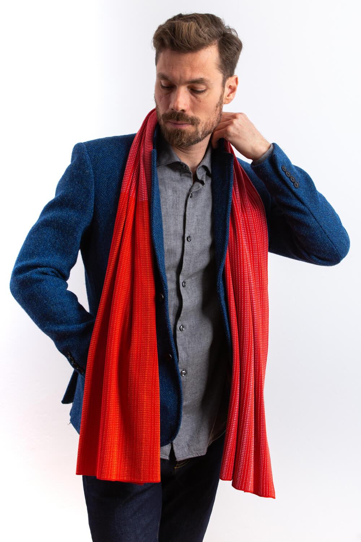Large silk designer scarf for men. A red silk scarf, made in Scotland. Luxury Scottish Knitwear design by Collingwood-Norris.jpg