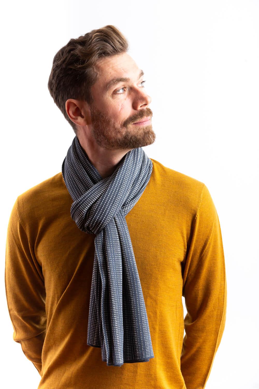 Designer silk scarf for men in large size. A dark grey patterned silk scarf, made in Scotland. Luxury Scottish Knitwear design by Collingwood-Norris.jpg