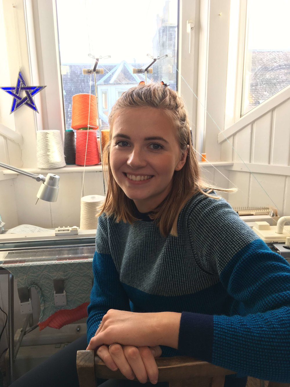 Meet Cara, the new studio assistant/ knitter here at Collingwood-Norris!