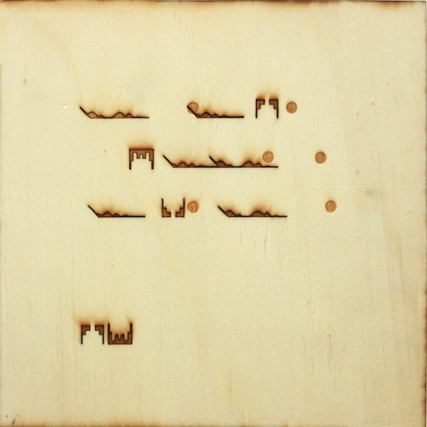 Christine Kettaneh,  mute melody to C dot , laser-engraving on plywood, ed.1/2, 2013.  Exposure 2013, Beirut Art Center.