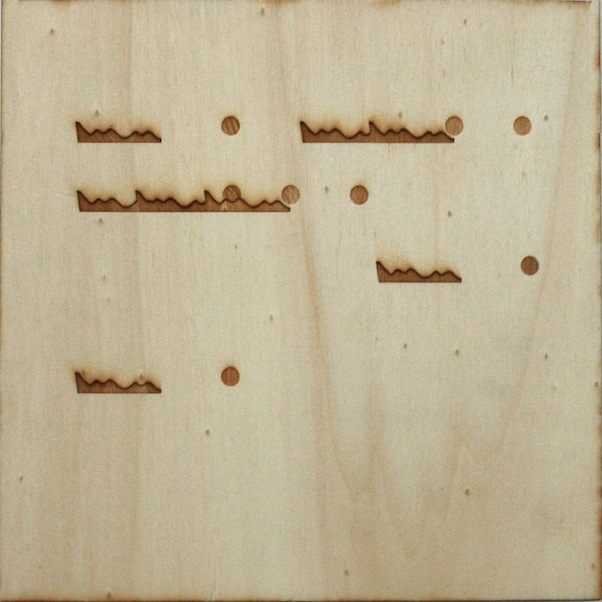 Christine Kettaneh,  mute melody to A dot , laser-engraving on plywood, ed.1/2, 2013.  Exposure 2013, Beirut Art Center.