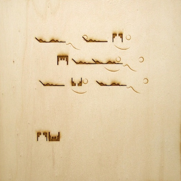 Christine Kettaneh,  mute melody to C , laser-engraving on plywood, ed.1/2, 2013.  Exposure 2013, Beirut Art Center.
