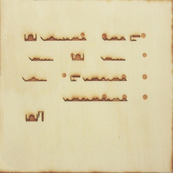 Christine Kettaneh,  mute melody to P dot , laser-engraving on plywood, ed.1/2, 2013.  Exposure 2013, Beirut Art Center.