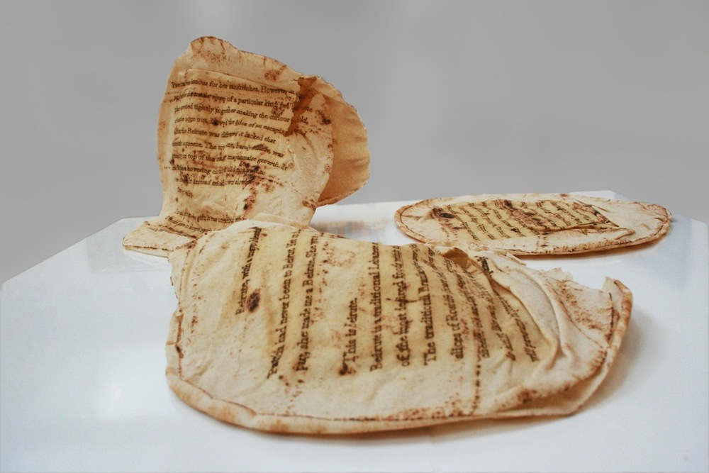Christine Kettaneh, A Beirute, with a mayo blessing , laser-engraving on bread, 2014.