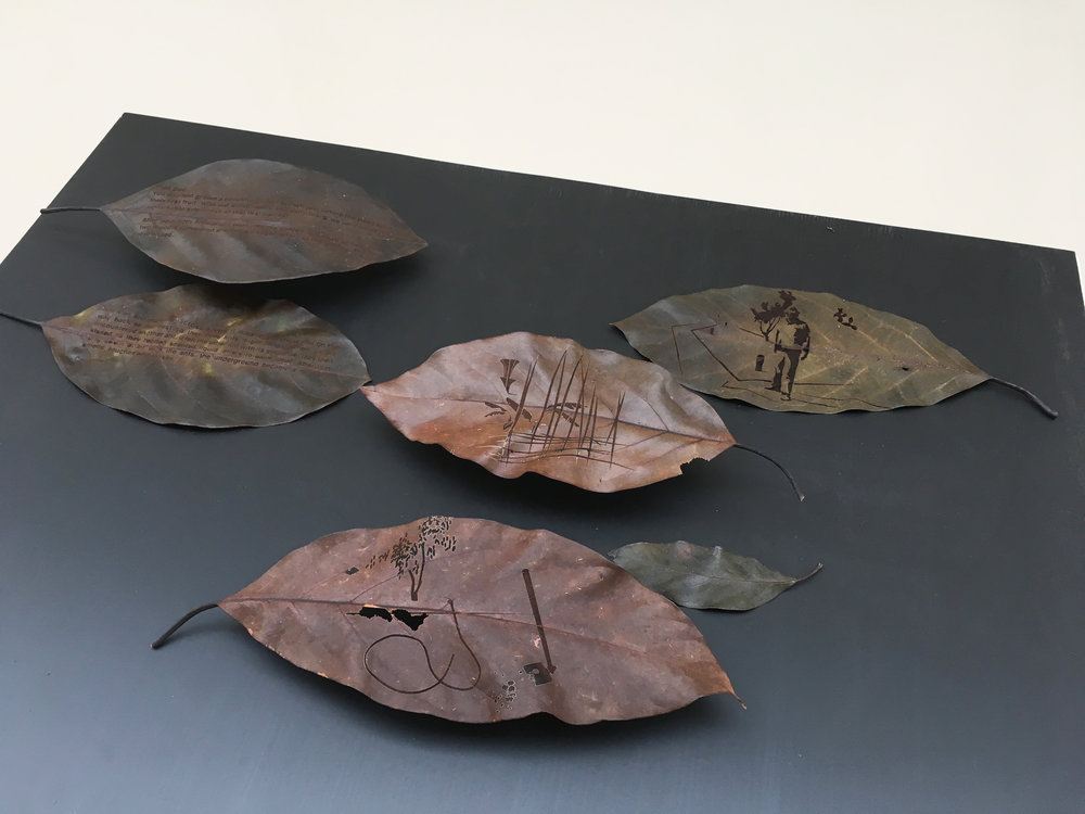 Christine Kettaneh, Sugar Garden, laser-engraving on preserved avocado leaves, 2017, ed.1/4.