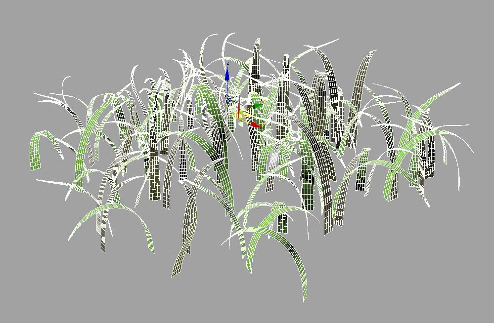 Basic grass geometry with Turbosmooth modifer with 2 iterations