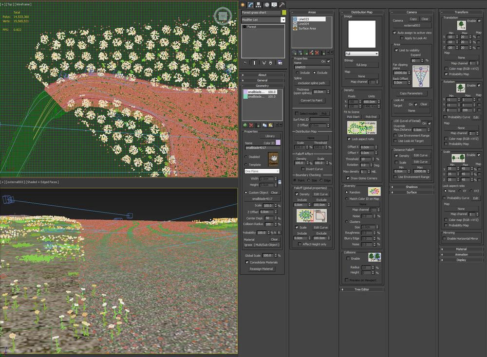 Forest Pack grass settings