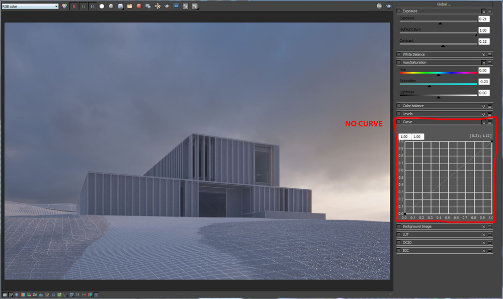 Vray Frame Buffer with no curve