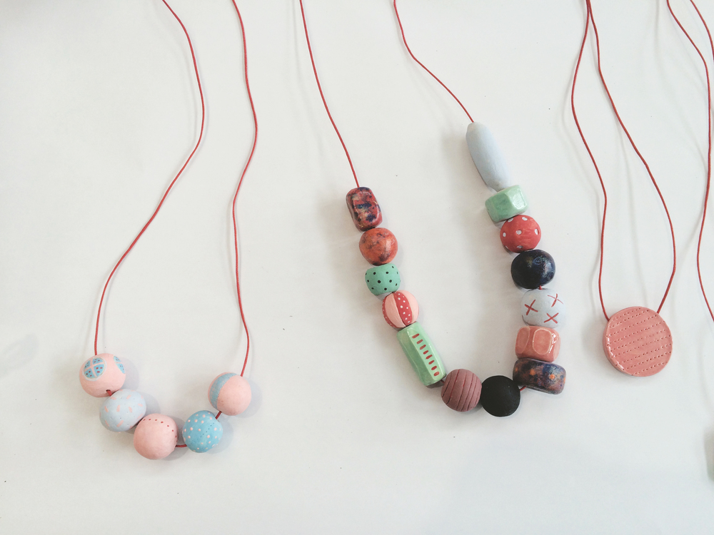 Hand formed ceramic beads.