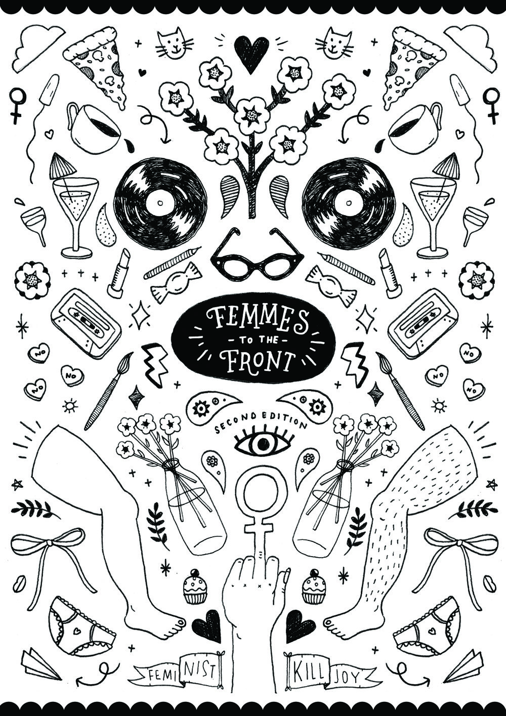 Cover for personal project - zine Femmes To The Front
