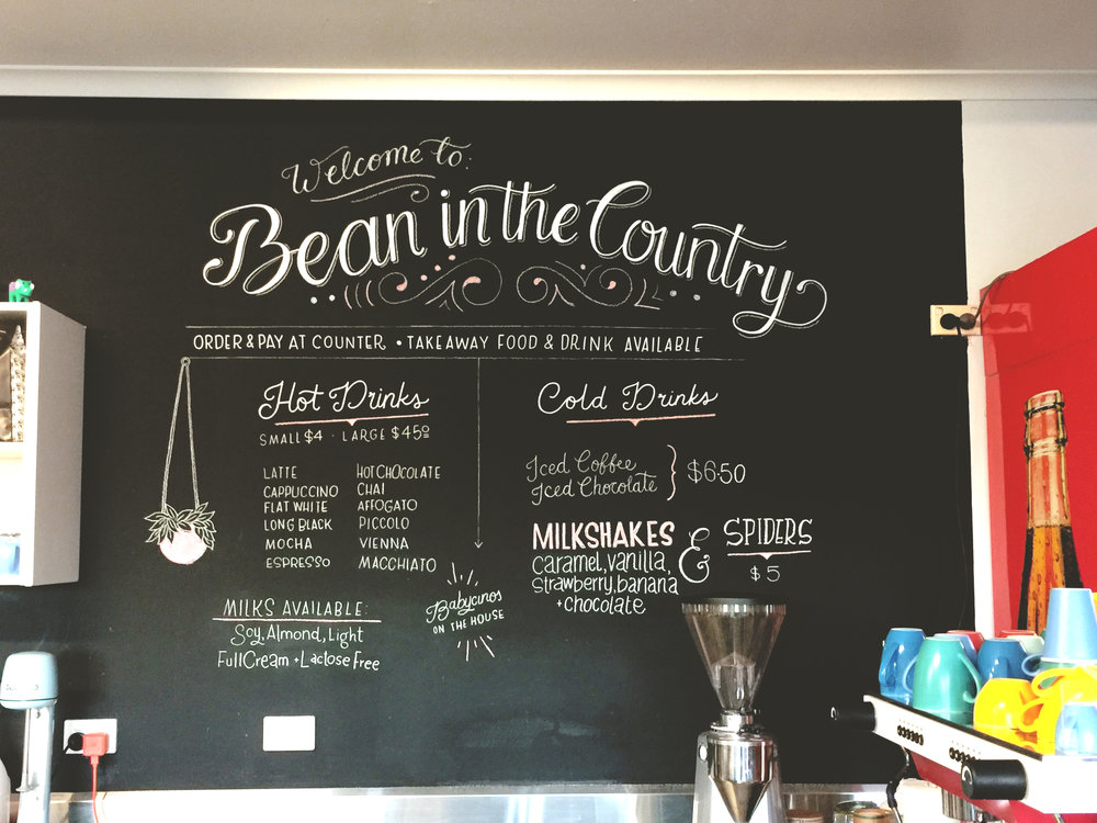 Chalkboard decoration for a local cafe.