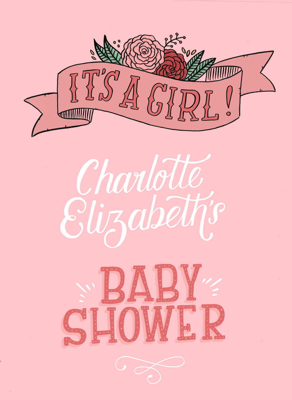 A commissioned poster for a baby shower.