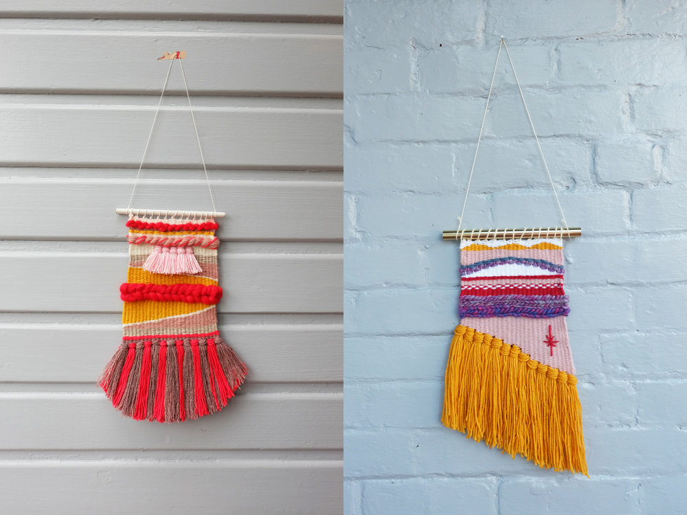 Left: My first weaving, for my sister in law. Right: A weaving for my co-worker Krystal who was my Secret Santa this Christmas.