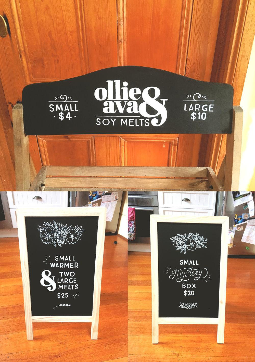 Commissioned chalkboard lettering work for local business.
