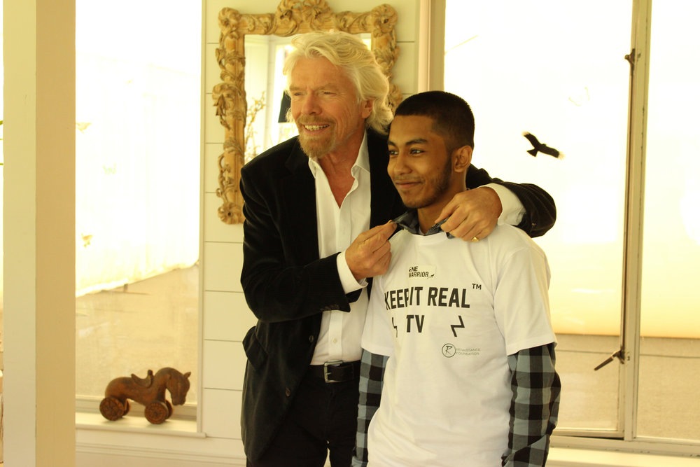 Sir Richard Branson giving some fashion advice