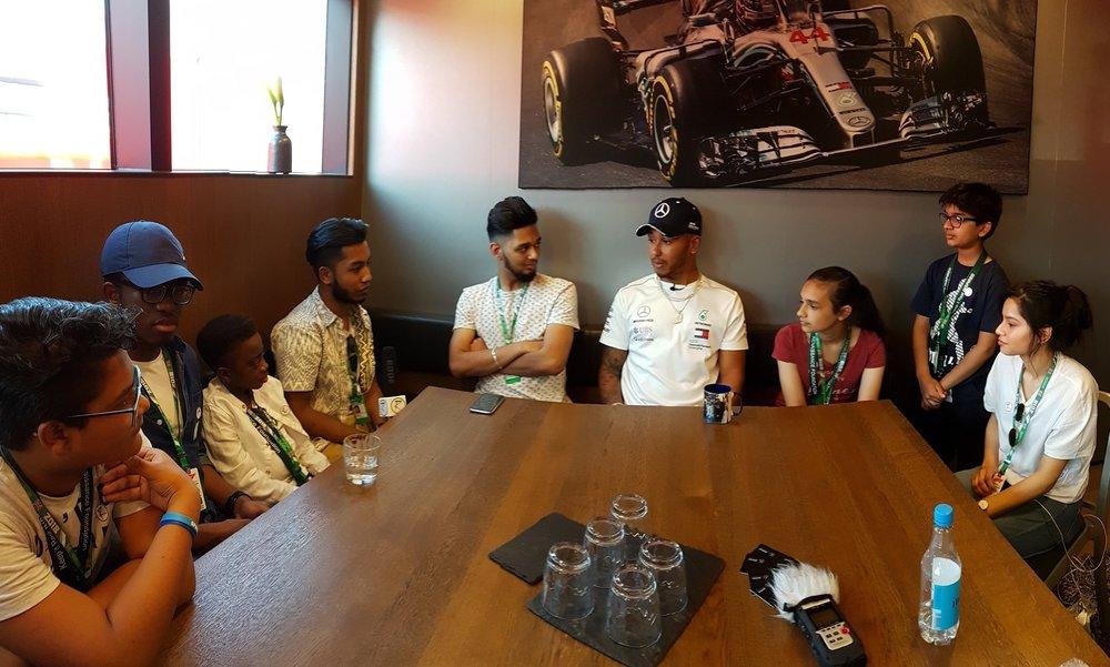 Speaking with Lewis Hamilton