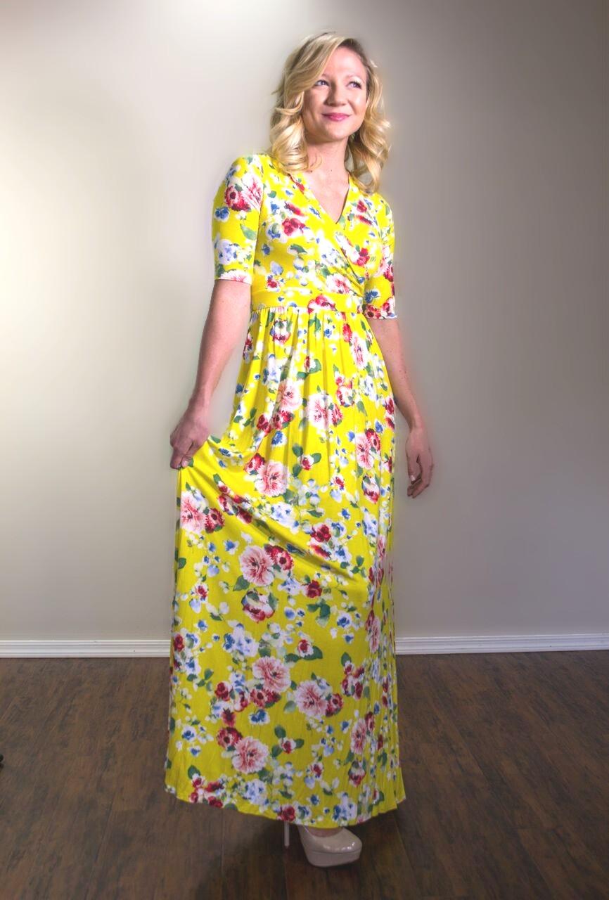 Yellow Floral Maxi Dress