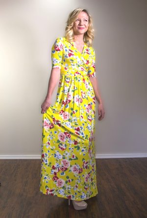 4d9cd1b4532e Yellow Floral Maxi Dress Maternity   Nursing Dresses— Mod Mums