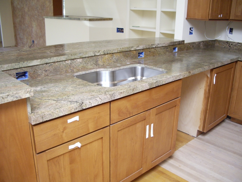 A beautiful, unique granite was chosen for the countertops.