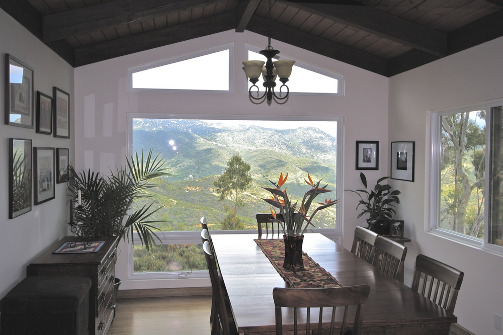A dining room addition was conceived to take advantage of the stunning view of Palomar mountain and the San Luis Rey river valley.