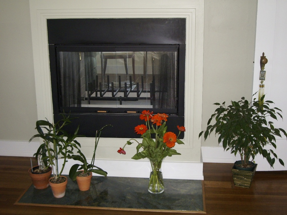 A two-sided fireplace can be viewed from dining area and master bedroom.