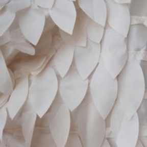 "Petals on Point Ivory 132"" round"