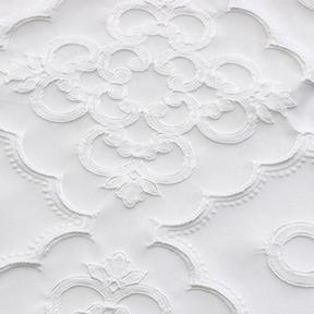 "Versailles White  8' drape, 132"" round"