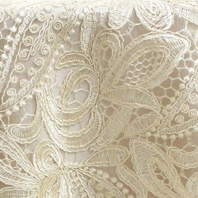 "Province Lace Buff Overlay 85"" square"