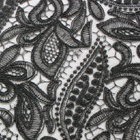 """Province Lace Black Overlay  85"""" square"""