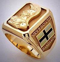 Greek Family Crest Ring with Spartan Theme