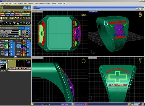 "This is a screen shot showing the creation of most of the components to the ring our customer desired. This base of the ring was created using our ""state of the art"" CAD/CAM system. The figure of King Leonidas was carved by hand and sections of the ring were enameled."