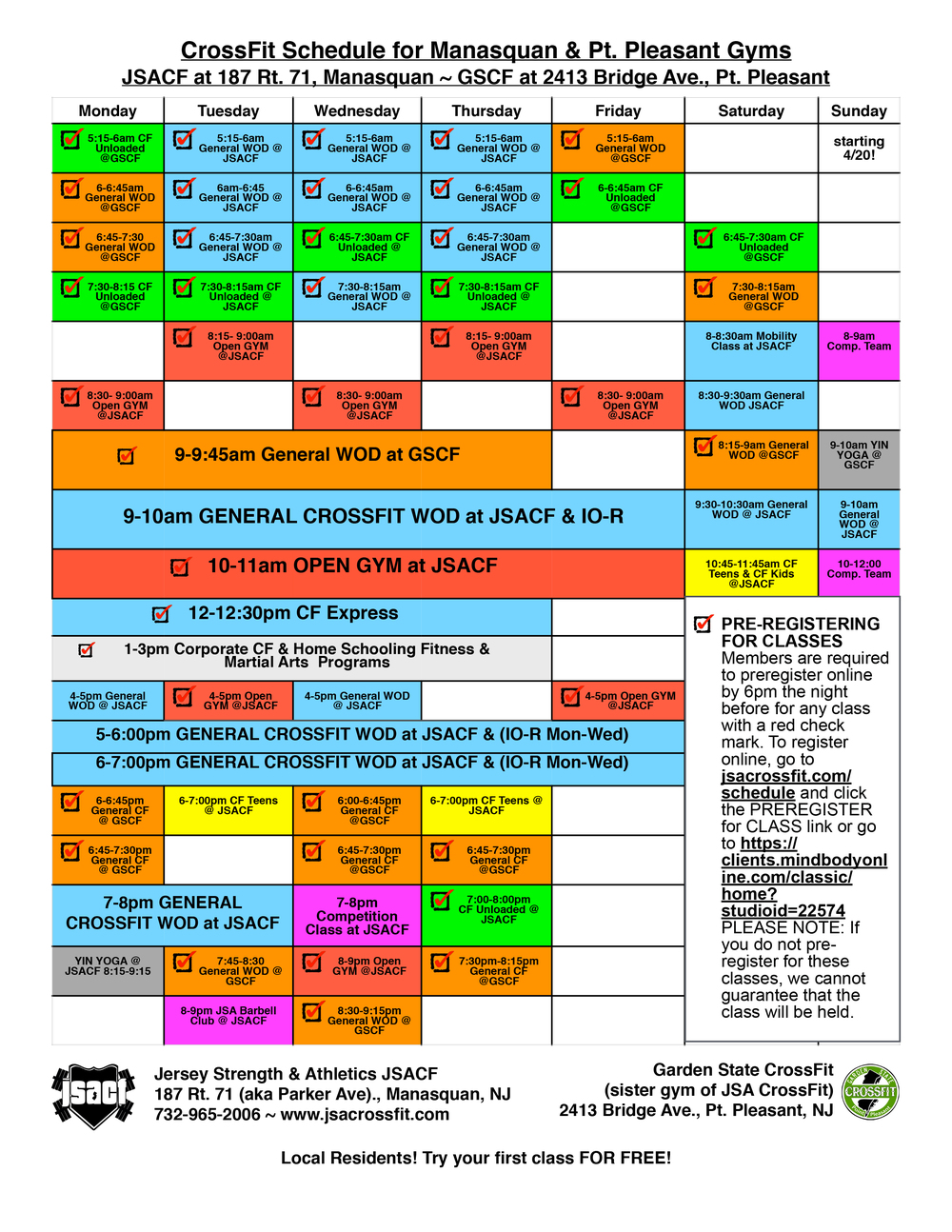 Schedule — jsa crossfit since the premier