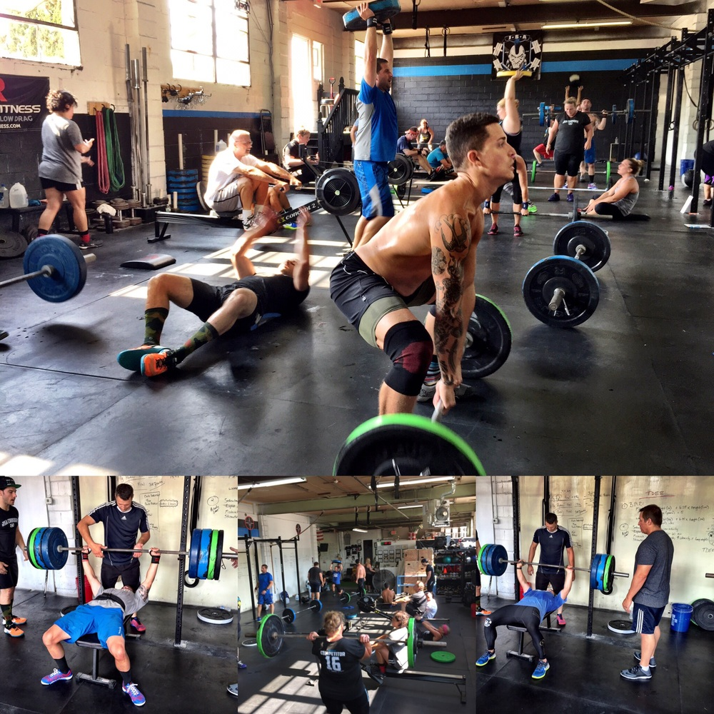 Sunday S-C Strength Bench Press 3-3-3-3-3 Conditioning Teams WOD 5-6 per team 45sec at each station 15sec rest to transition Team can split up the modalities anyway they want. Athletes can repeat any station and divide up any way you want. Total reps is the score. #1 OH Lunges 45/35# #2 Power Cleans 135/95# #3 Wall Ball 20/14# #4 SDLHP 95/65# #5 Abmat Sit-ups #6 Row for Calories - 10 cals = 1 Rep 2min Rest at the end of 6min rotation Repeat for 3 total Cycles