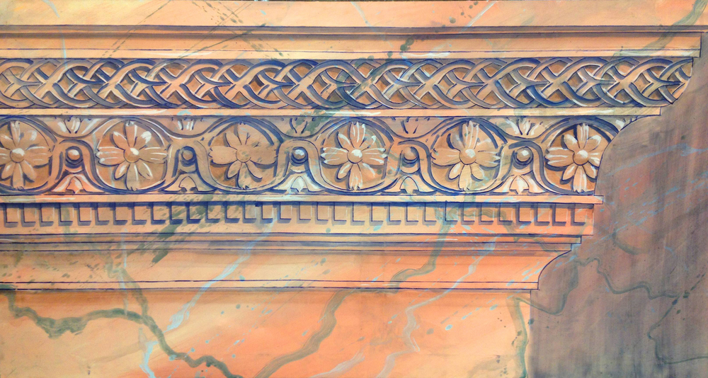 Marble Cornice Trompe l'oeil