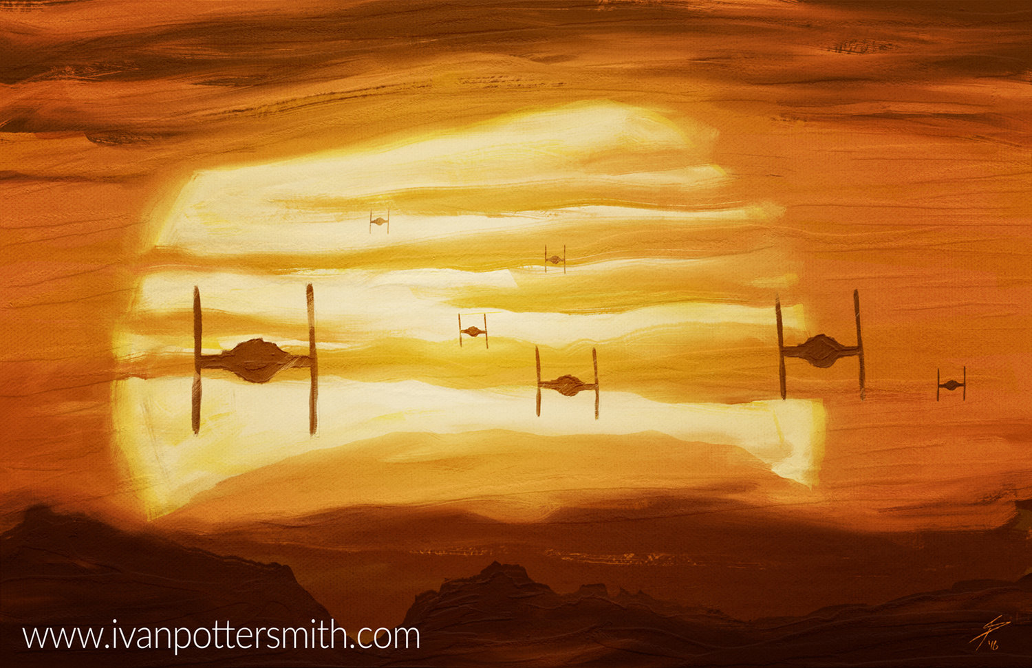 Painting Daily: Tie Fighters in the Sunset — Ivan Potter-Smith