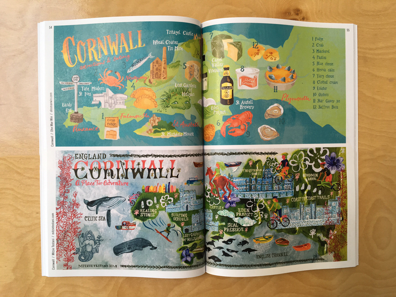 Cornwall by Ohn Mar Win (top) and Mitzie Testani (bottom). Photo via They Draw and Travel.