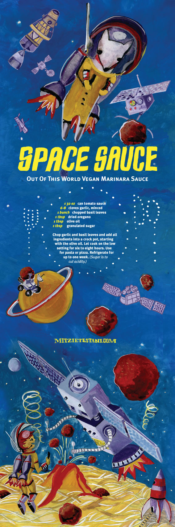 "Illustrated recipe, ""Space Sauce,"" by Mitzie Testani"