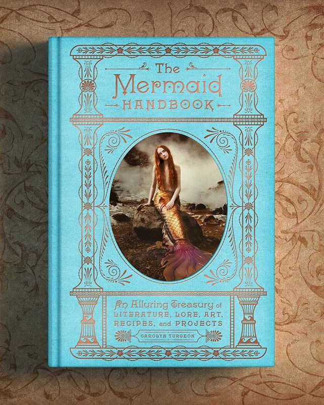 I'm thrilled to share #TheMermaidHandbook I designed for @harperbooks. It's a lavishly illustrated and intricately designed lifestyle compendium packed with lore, legends, facts, illustrations, and numerous step-by-step projects and recipes.  The book features an inset image on the front cover, ornate bronze foil stamping on the front, spine, back, and edges, and a satin bookmark.