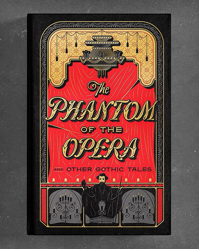 I'm excited to share the book cover and endpapers I designed and illustrated for a new entry in the ongoing Barnes & Noble Collectible Edition series: The Phantom of the Opera and Other Gothic Tales.  As a huge fan of the musical the world-famous title novel inspired, I was thrilled to create something fans of both might enjoy while discovering the twenty-four gothic tales shaped by menace and the macabre the anthology also includes.  Created with three foil stamps on black leather, the facets of the book cover depict the many famous perspectives (both real and imagined) of The Palais Garnier: above ground, underground, front- and back-stage.  You can find a copy in Barnes & Noble stores worldwide in September!