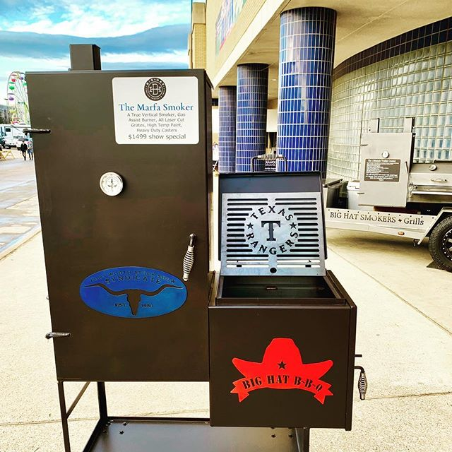 The limited edition Texas Rangers edition of our Marfa Smoker on display at the Fort Worth Stock Show. Now is the time to buy the last smoker you'll ever need to buy. #ilovemybighat #bbq #marfa #bbqsmoker #fwssr