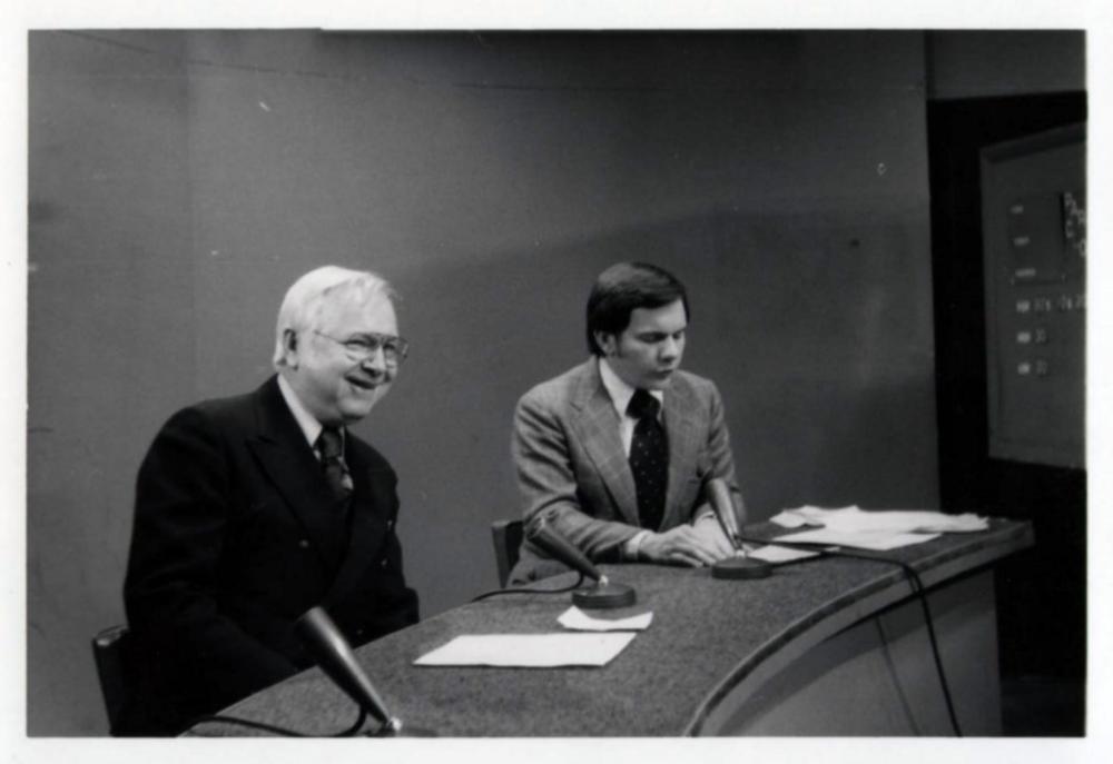 Doug Martin, theatre critic and Charlie Ryan, News Anchor, WCHS-TV.