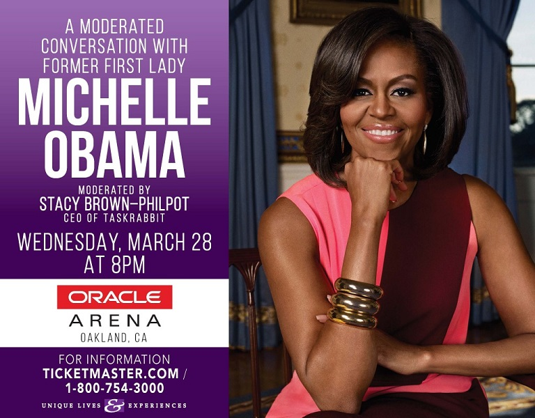 Michelle Obama, Stacy Brown-Philpot, Oracle Arena, Moderated Conversation Poster.png