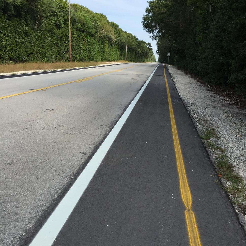 recently expanded shoulder/bike path