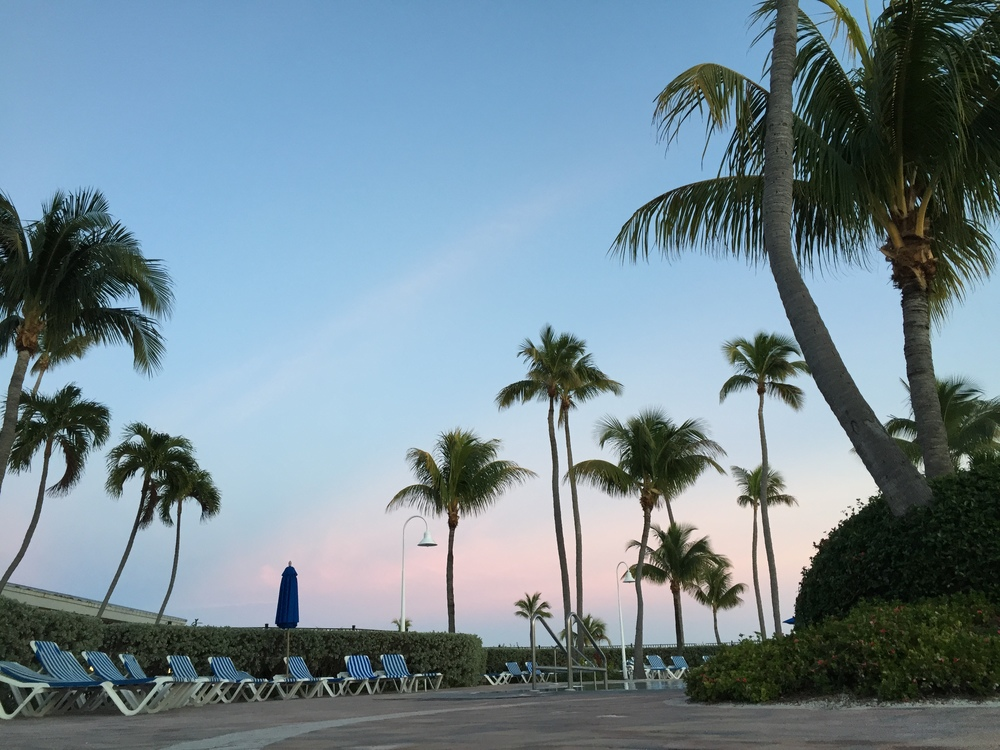 sunset viewed from the salt water pool at the Islander Resort