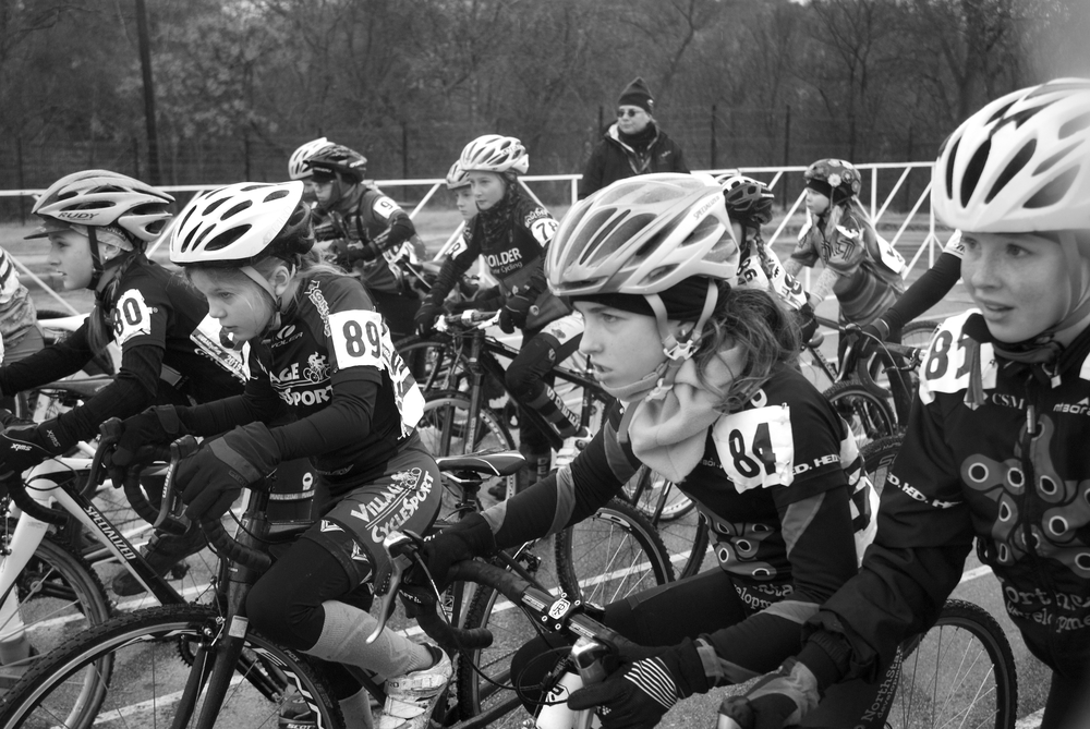 The Female Junior 11-12 races moments before the start of their race.